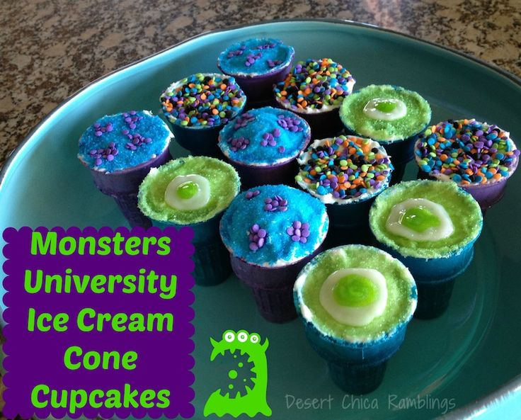 Monsters University Cupcakes - Super easy Monsters University Cupcake cones with Mike and Sulley