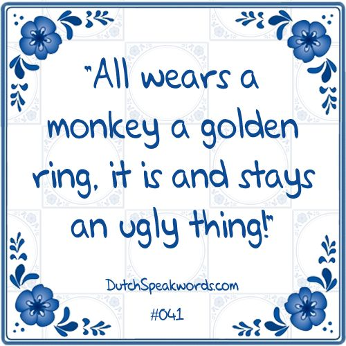Al draagt een aap een gouden ring, het is en blijft een lelijk ding