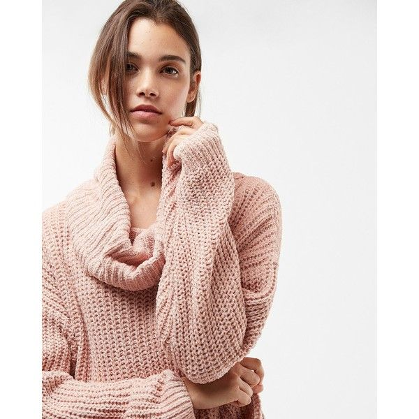 Express Cozy Chenille Cowl Neck Sweater 35 Liked On Polyvore Featuring Tops Extra Long Sleeve Sweater Oversized Cowl Neck Sweater Pink Oversized Sweater