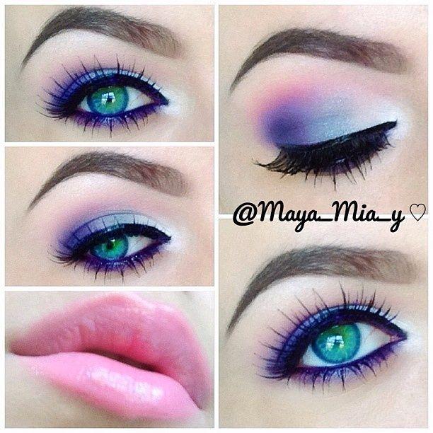 paarse ogen roze lippen