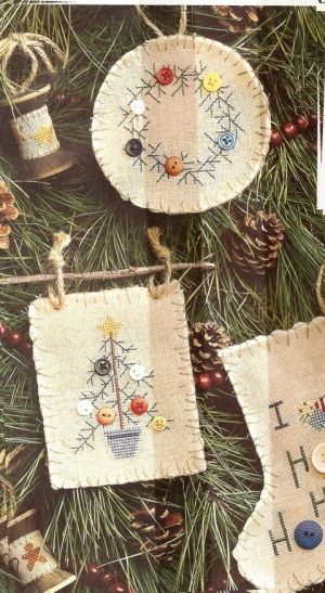 Christmas ornaments, cross stitch, buttons,  felted wool, twine