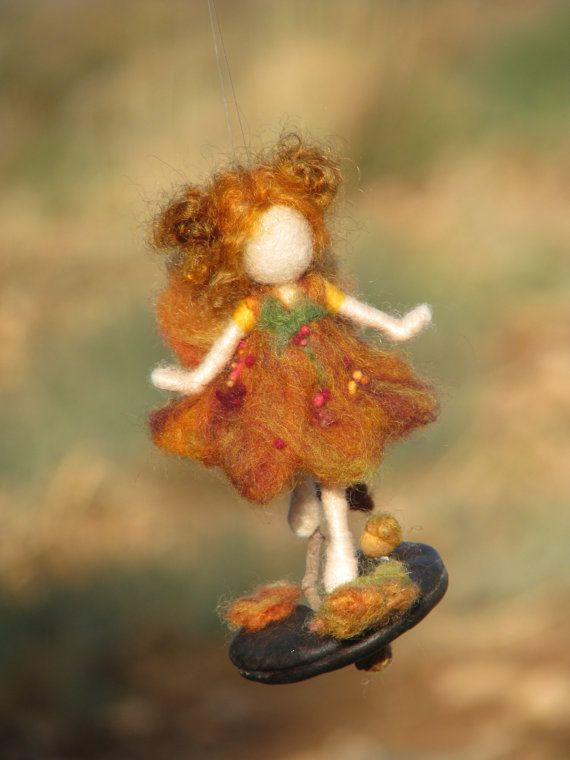 Needle felted Waldorf inspired fall fairy on seed by Made4uByMagic
