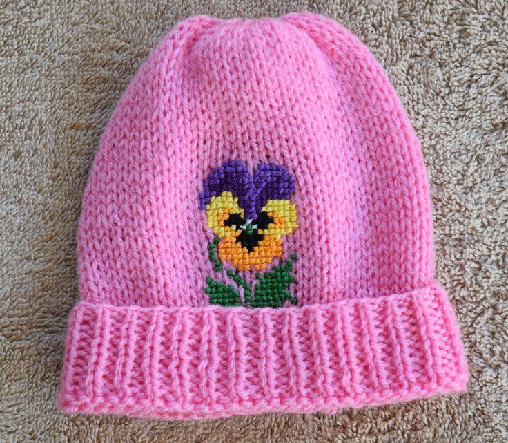 Hand knitted  & Cross Stitched Baby Beanie. Size Newborn (7-9lb). by HandmadebyAuntyTart on Etsy