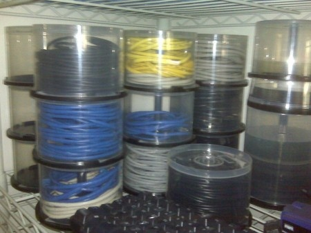Store cables or rope in old CD spindles. or string, ribbon, lace, shoelaces...