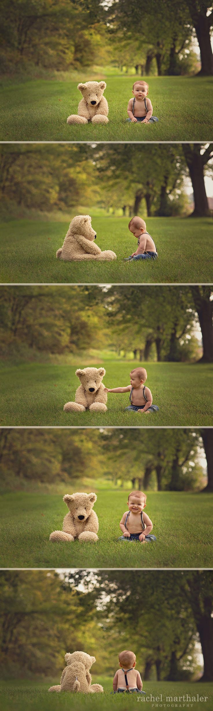 Baby Teddy Bear Photo, 8 month photo baby boy, Teddy bear, Twin Cities Photographer, Rachel Marthaler Photography                                                                                                                                                                                 Más