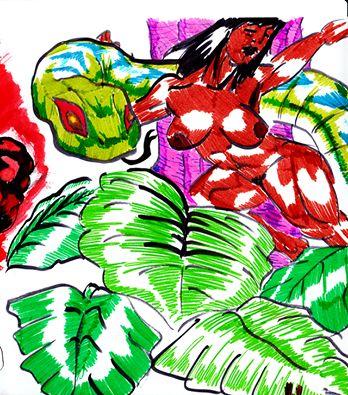 """Eden - 2015 - JhetroMan.-  """"Ejercicio"""" limpiando el pincel salio la silueta de la mujer, despues de eso el resto y los colores con lapices escripto-   #dibujo #arte #psicodelia #trip #JhetroMan #psychedelic #drawing #ilustration"""