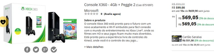 Console Xbox 360 4Gb  Jogo Peggle 2 << R$ 54060 >>