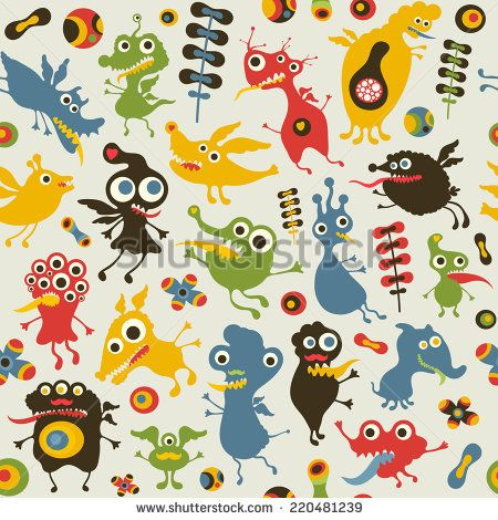Colorful seamless pattern with happy monsters. #monsters #monsterillustration #vectorpattern #patterndesign #seamlesspattern