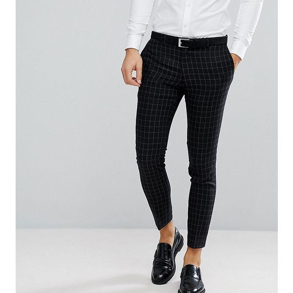 Noak Skinny Suit Trouser In Grid Check (£66) ❤ liked on Polyvore featuring men's fashion, men's clothing, men's pants, men's dress pants, black, mens skinny dress pants, mens skinny pants, mens cropped dress pants, mens skinny suit pants and mens stretch dress pants