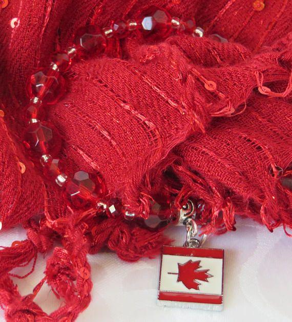 Canada Bracelet / Canadian Flag Bracelet / Red Bead Bracelet /