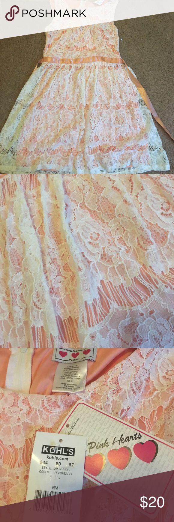 Peach lace NWT S dress Peach lace dress size small new with tag!! khols Dresses Midi