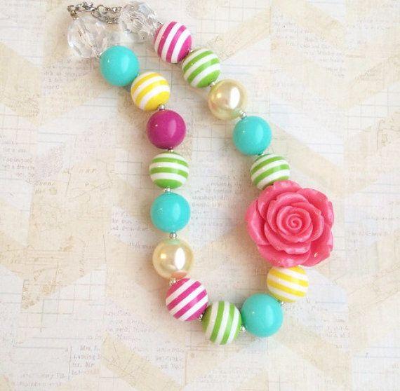 Grueso collar bubblegum niñas, collar de niño, bebé niña collar, collar arco iris, collar de cumpleaños, grueso collar de goma de mascar