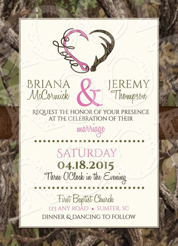 Hooked On Love Camo Wedding Invitation and RSVP Card by MrsPrint