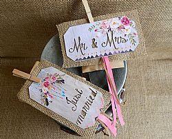 Μπομπονιέρα γάμου μαγνήτης με λινάτσα σε boho ύφος
