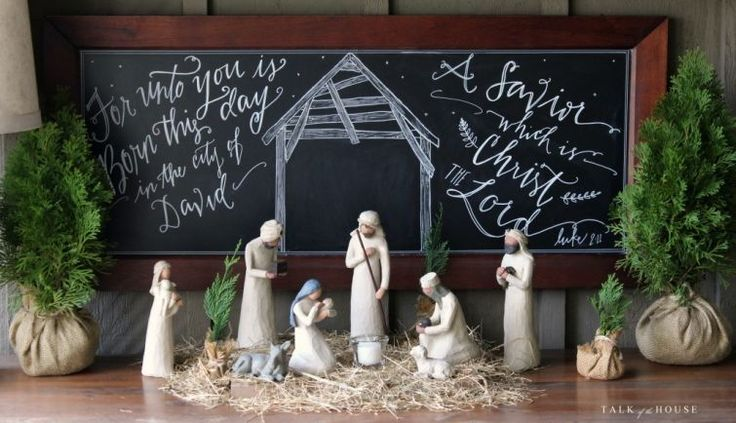 Willow Tree nativity and Christmas chalkboard                              …