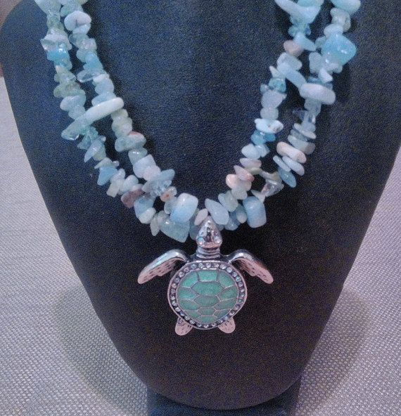 24 inch double strand aquamarine and quartz necklace with a turtle pendant, nautical necklace, gift for her, birthday gift, March birthstone