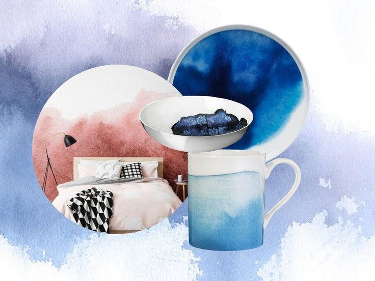 Interior Trend: Wasserfarben Auf Geschirr Und Wänden