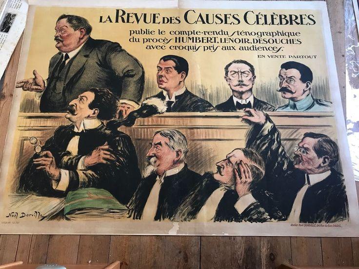 AFFICHE DORVILLE LA REVUE DES CAUSES CELEBRES 1919 JUSTICE AVOCATS