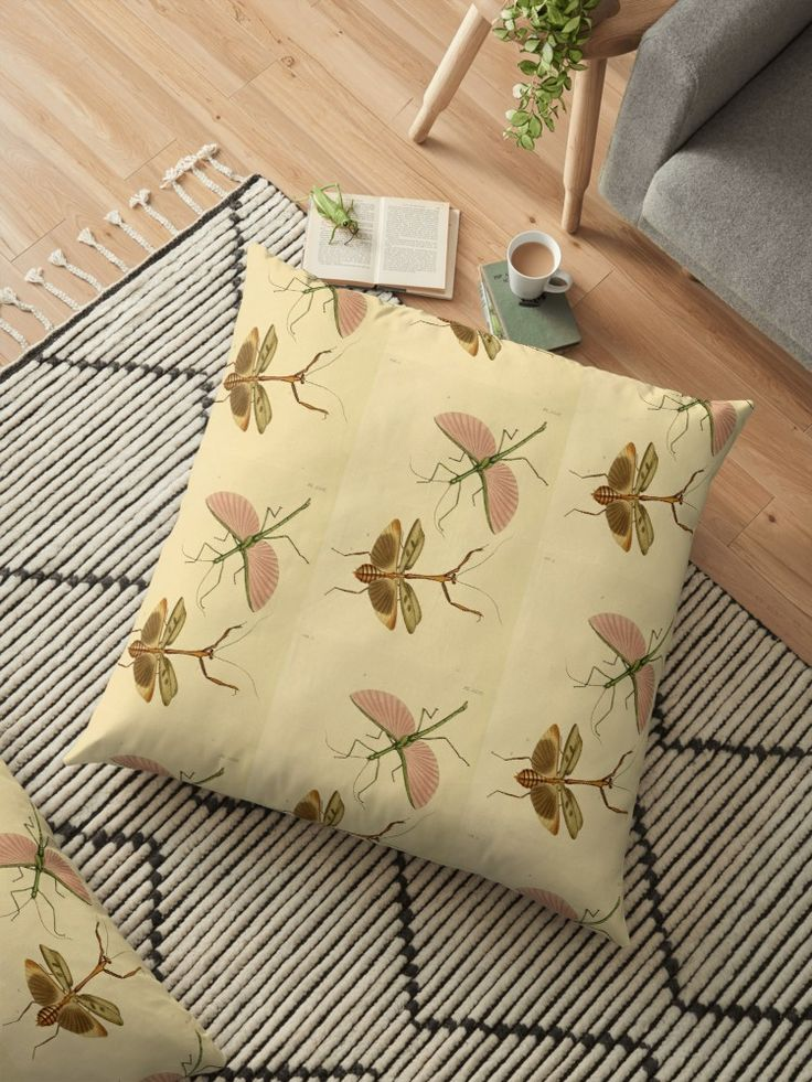 Naturalist Stick Insects Pillow by bluespecsstudio + redbubble
