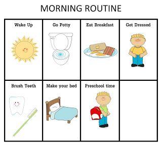 ourhomecreations: Preschool Morning Routine Chart (Boy or Girl)