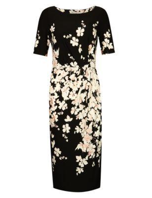 Black Mix Slash Neck Floral Shift Dress Outfit