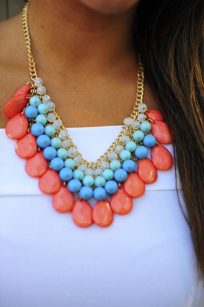 Mini Teardrop Necklace: Coral