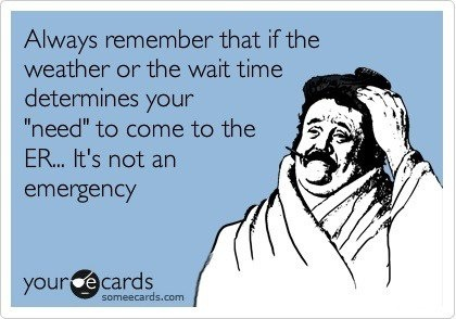 """Always remember that if the weather or wait time determines your """"need"""" to come to the ER...it's not an emergency. #ecards"""