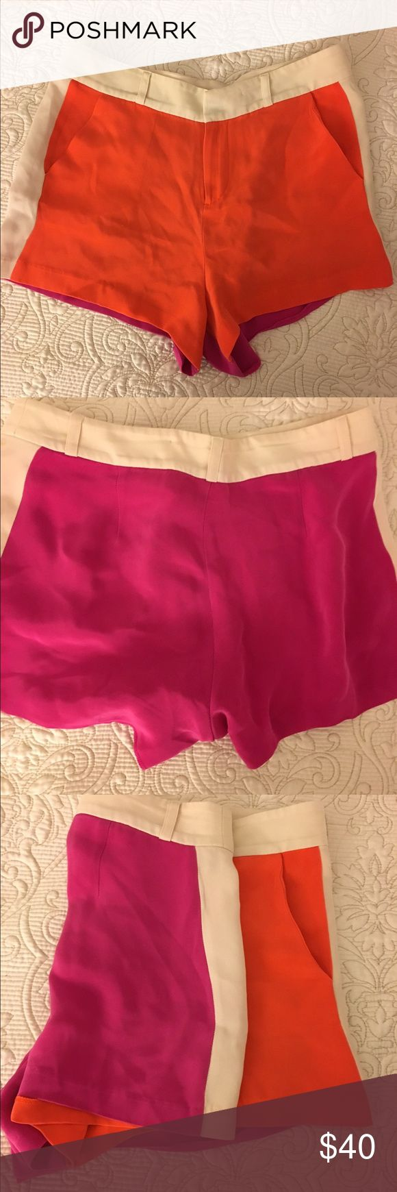 Parker Silk 2 color shorts Super cute Parker shorts in silk. The front is bright orange and the back is pink. I got so many compliments on these. They are slightly high wasted so look amazing with crop tops! Parker Shorts