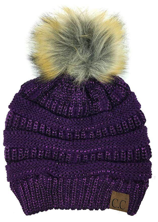 937e17d319903 Plum Feathers Soft Stretch Cable Knit Ribbed Faux Fur Pom Pom Beanie Hat  (Metallic Purple