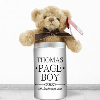 Personalised Page Boy Teddy In A Tin Mr And Mrs Design