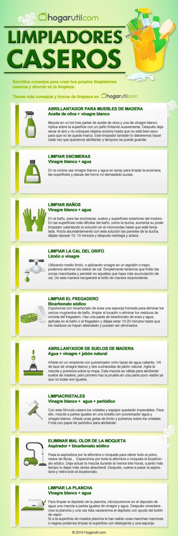Infografía para hacer limpiadores caseros #infografia #limpieza Más info: http://www.hogarutil.com/hogar/limpieza-orden/objetos/201403/infografia-para-hacer-limpiadores-caseros-23959.html