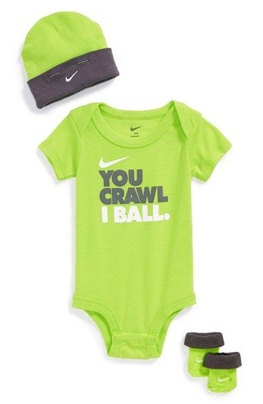 Free shipping and returns on Nike 'You Crawl, I Ball' Bodysuit, Booties & Cap (Baby Boys) at Nordstrom.com. Make sure the world knows your little one's got game with an irresistible bodysuit paired with a logo-embroidered cap and booties for plenty of extra swag.