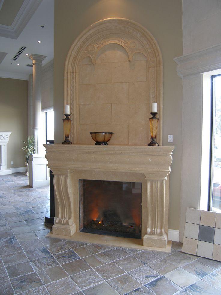 Toronto Showroom Cast stone fireplace mantel/overmantel