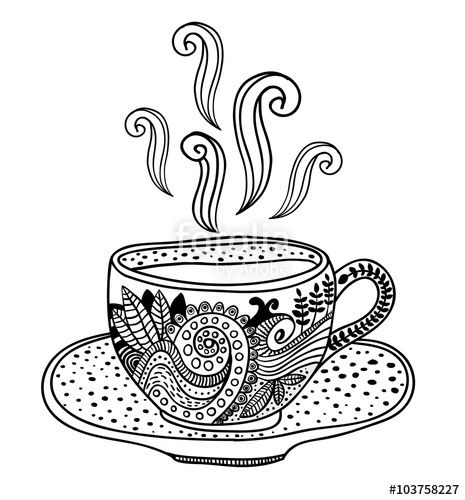 Coffee Cup Floral Colouring Page Coffee Tea Coloring Pages For