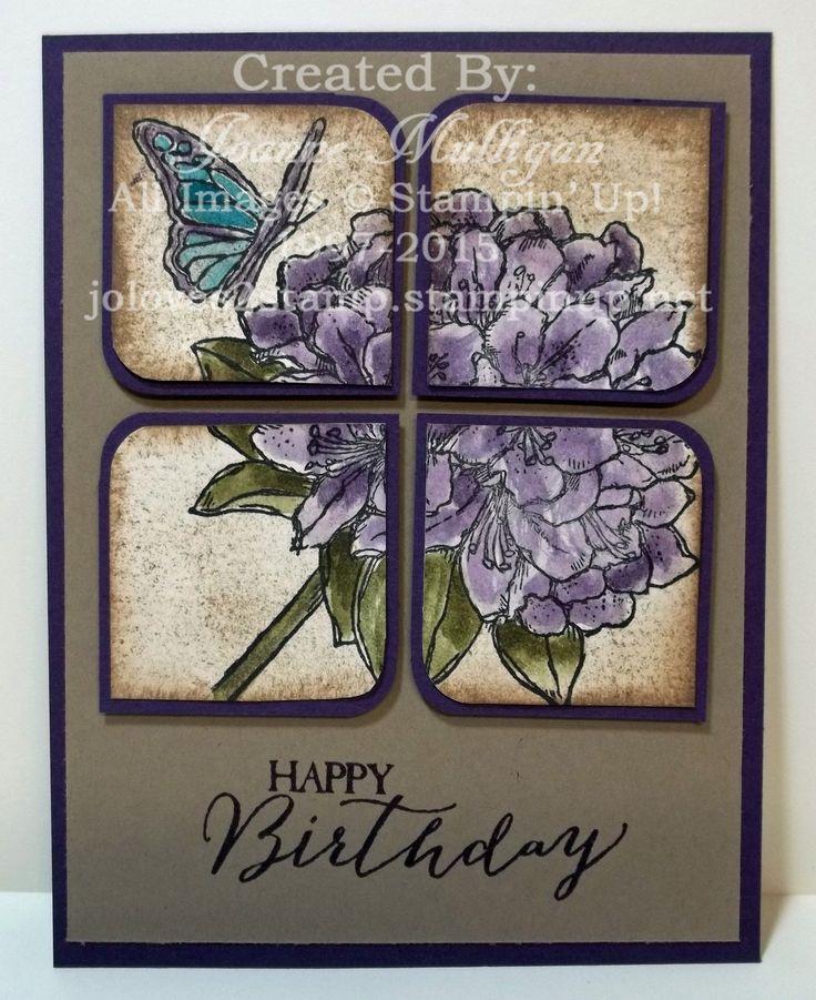 handmade birthday card  ... hydrangea on a split panel block ... beautiful sponging ...  Created by Joanne Mulligan ... Stampin' Up!