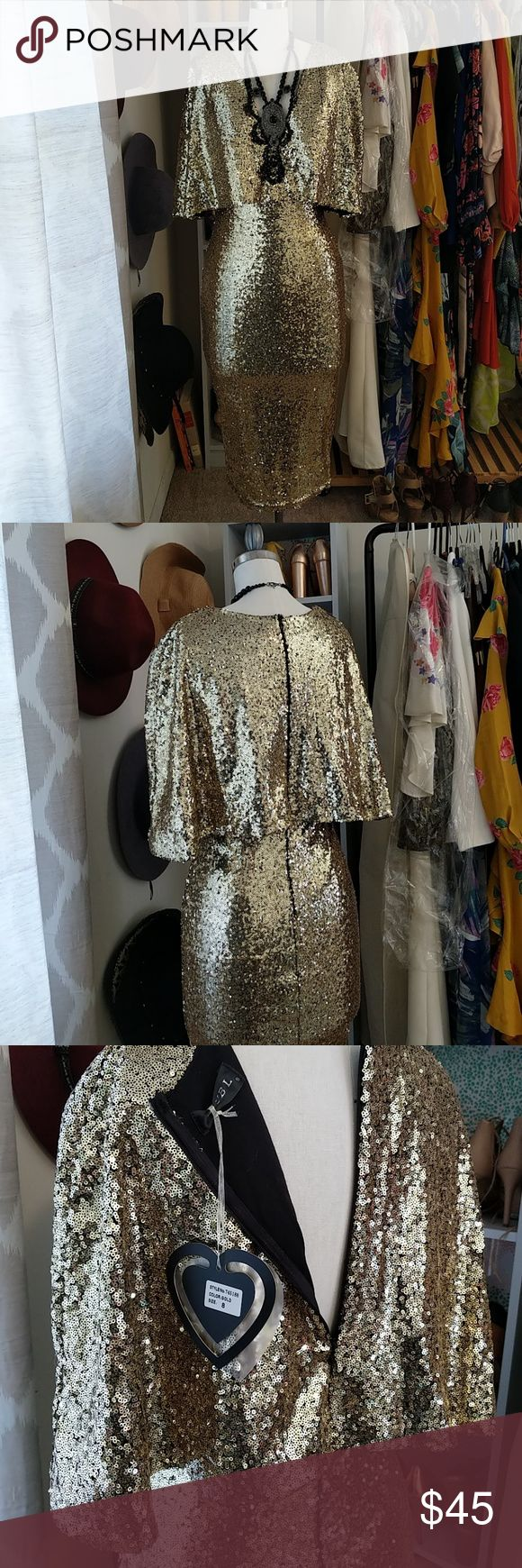 Gold sequin low v-neck dress UK size 8 - I'm a size 4 and it fits me well! New with tags, never worn. Body-con skirt with deep v neckline (black necklace not included) Dresses Midi