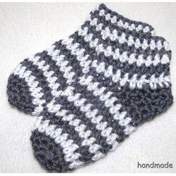 Bambusové dětské ponožky, ručně háčkované, pruhované, vel. 0 - 18 měs.