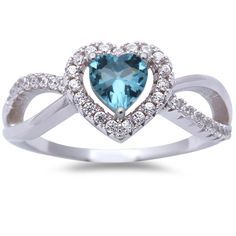 0.74 Carat Heart Shape Blue Aquamarine Halo Promise Ring Split Shank Round White Clear CZ Solid 925 Sterling Silver Wedding Engagement Love