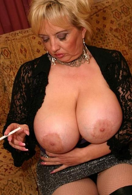 Mature smokers in pantyhose