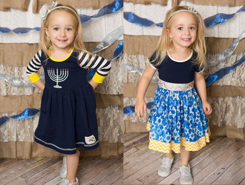 "hanukkah dress giveaway from Kids Fly Too Use the word ""Kvell"" for a discount www.themodernjewishwedding.com"