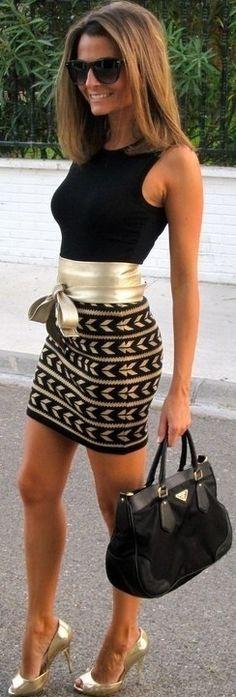 MC - detalle cinturón lazado en piel -  Black , Gold