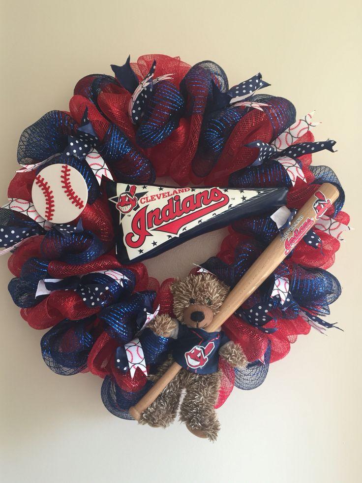 Cleveland Indians deco mesh wreath