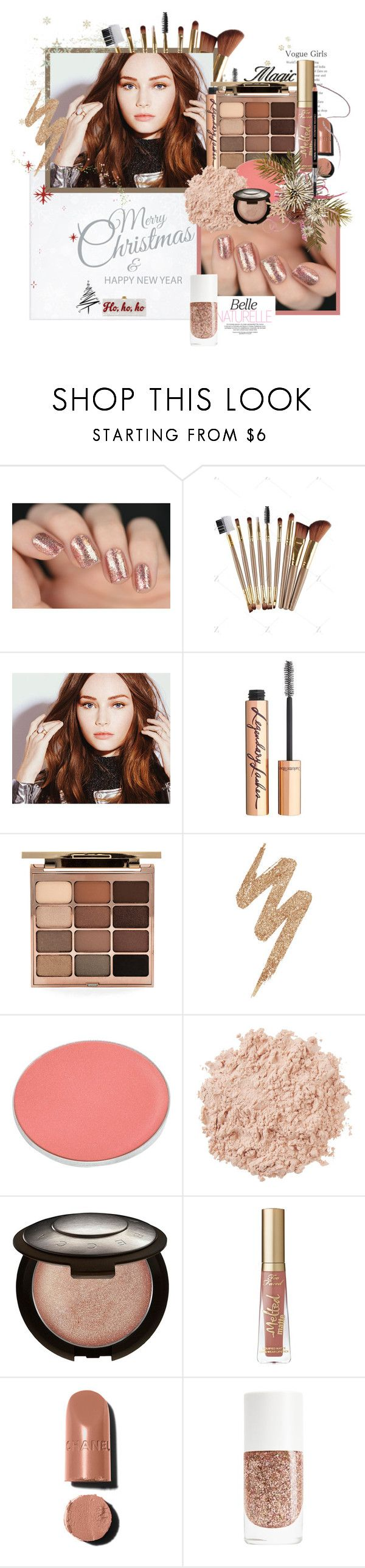 """""""natural christmas beauty"""" by akchen ❤ liked on Polyvore featuring beauty, Edie Parker, Charlotte Tilbury, Stila, Urban Decay, Chantecaille, La Mer, Becca, Too Faced Cosmetics and Givenchy"""