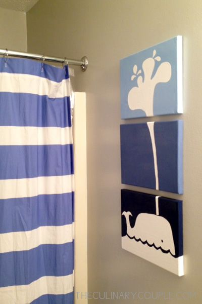 Can paint any picture, just split between canvases. Cute idea for kids bathroom