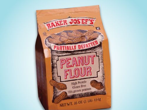 All-purpose white flour has approximately 95 grams of carbohydrates per cup while peanut flour has about 21 grams of carbohydrates for the same amount of de-fatted peanut flour. Peanut flour contains 31 grams of protein per cup.