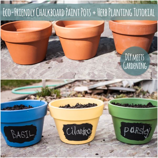 Eco-Friendly Chalkboard Paint Pots With Herb Planting Tutorial
