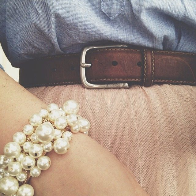 Lauren Conrad Pink Tulle Skirt - $32 from $62 - Faux Pearl Bracelet $12.80 from Forever21 - Tommy Hilfiger Leather Belt