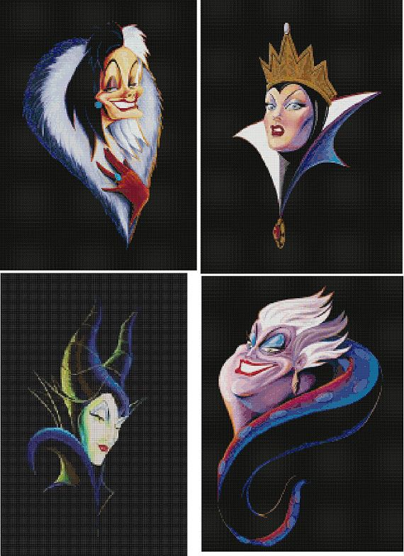 4 Set Disney's Villains Cross Stitch Patterns-Maleficent, Cruella, Evil Queen, Ursula
