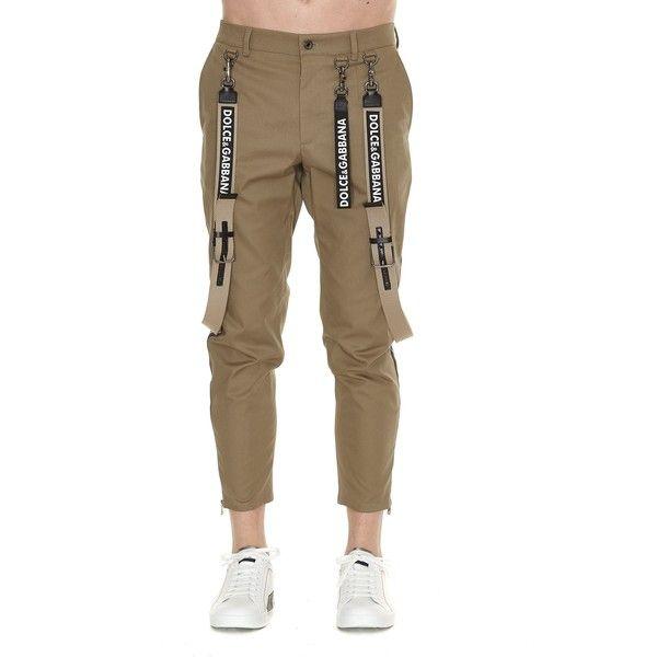 Suspenders Trousers ($905) ❤ liked on Polyvore featuring men's fashion, men's clothing, men's pants, men's casual pants, khaki, men's casual cotton pants, mens khaki pants, mens zipper pants, dolce gabbana mens pants and mens cotton pants