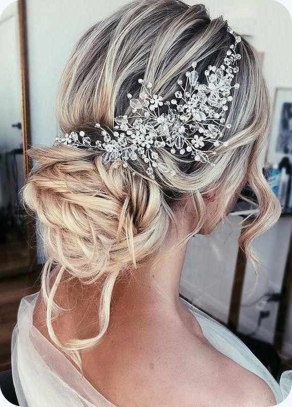 Wedding hair accessories Crystal Bridal hair piece Bridal hair vine Rose gold wedding headpiece Bridal hair pieces Gold crystal crown Tiara